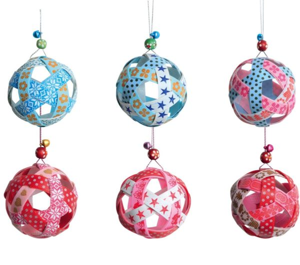 Overbeck and Friends 6er Set Christbaumschmuck Streifenball