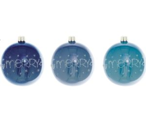 Overbeck and Friends Christbaumkugeln A Very Merry Christmas blau 12er Set
