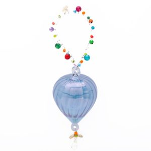 Overbeck and Friends Glas-Ornament mit Perlen blau