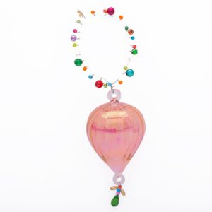 Overbeck and Friends Glas-Ornament mit Perlen rosa
